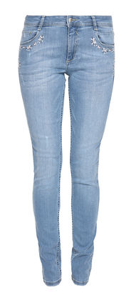Damen Jeans Hose Shape Superskinny mit Strass und Blumen Stick (blue)