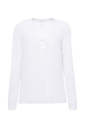 Damen Henley-Bluse mit Turn-up-Ärmeln