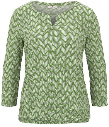 Damen Crincle-Shirt mit Allover-Print