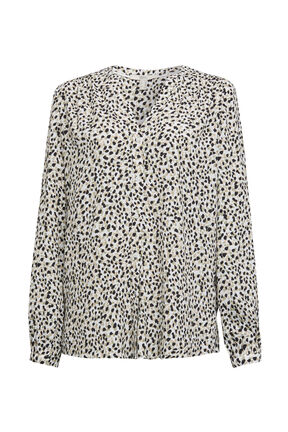Damen Crepe Bluse mit Animal-Allover Print