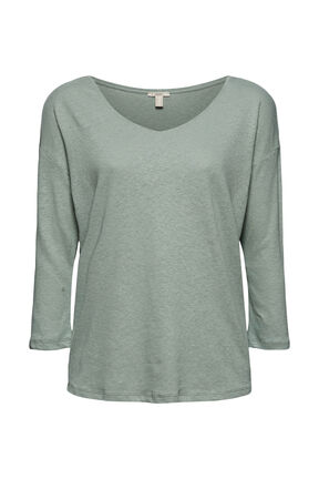 Damen 3/4 Arm Shirt aus Baumwoll-Leinen-Mix